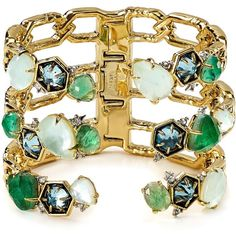 Alexis Bittar Elements Mosaic Aquamarine Cuff ($415) ❤ liked on Polyvore featuring jewelry, bracelets, alexis bittar, aquamarine jewellery, cuff jewelry, aquamarine jewelry and cuff bangle