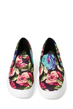 floral slip on sneakers: for a punch of color on grey days and easy on and off to hit the yoga mat.
