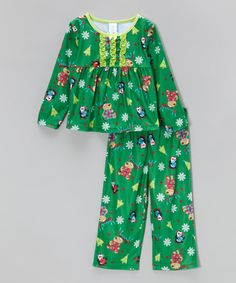 Look at this Candlesticks Green Holiday Friends Ruffle Pajama Set - Toddler on #zulily today!