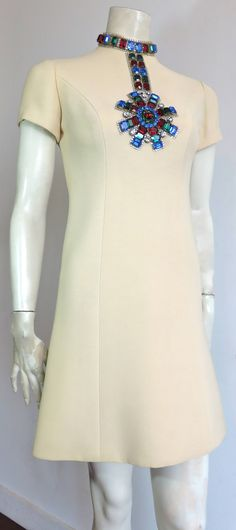 1969 NORMAN NORELL Iconic jeweled cocktail evening dress