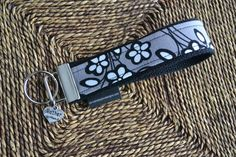Key Fob with Mother charm  grey black floral by ctaylordesigns, $12.00