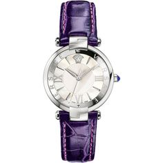 Versace Watches Women's Reve 3H Mother of Pearl Strap Watch - Purple ($650) ❤ liked on Polyvore featuring jewelry, watches, purple, wide watches, purple jewellery, purple watches, stainless steel jewelry and swiss quartz watches