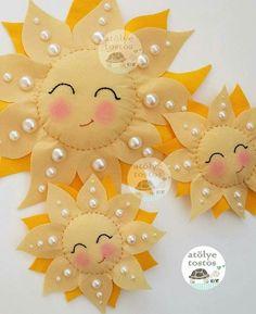 Sun w/Beaded Rays Do in felt Felt Diy, Felt Crafts, Diy And Crafts, Paper Crafts, Paper Toys, Harvest Decorations, Felt Decorations, Sewing Crafts, Sewing Projects