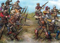 Arcabuceros españoles durante el siglo XVI, cortesía de Ángel García Pinto. Más en www.elgrancapitan.org/foro