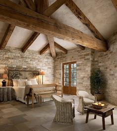 Exposed beams in the bedroom