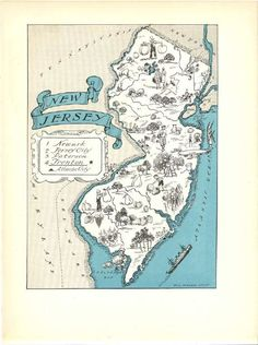 New Jersey Map Art / NJ State Wall Decor / 1930s Vintage Map Print / Quinn State Map Wall Art / Old Map Illustration / Travel Wall Map by HildaLea on Etsy