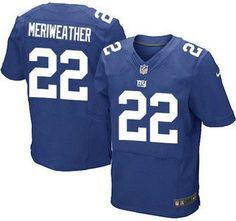 New York Giants Jersey 22 Brandon Meriweather Royal Blue Team Color NFL Nike Elite Jerseys