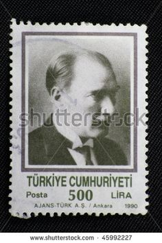 TURKEY - CIRCA 1990: A stamp printed in Turkey shows Mustafa Kemal Ataturk, circa 1990 - stock photo