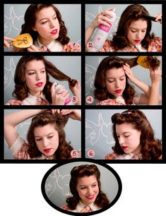 1940's pincurl hairstyle tutorial.