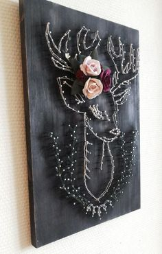 Painting in the technique of string art / Painting in the technique of … - wood art Crafts To Do, Arts And Crafts, String Art Diy, String Art Patterns, Wood Patterns, String Art Tutorials, Doily Patterns, Dress Patterns, Creation Deco