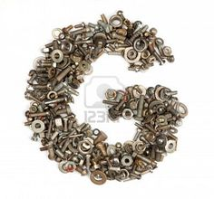 Letter G made of nuts, bolts, and washers