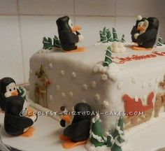 Coolest Penguin Winter Wonderland Cake... This website is the Pinterest of homemade birthday cakes