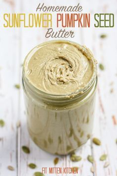 Sunflower Pumpkin Seed Butter [Fit Mitten Kitchen] Nut-free and vegan! I'd skip the sweetener and add salt. Pumpkin Seed Recipes, Pumpkin Seed Butter, Canning Recipes, Raw Food Recipes, Veggie Recipes, Yummy Veggie, Blender Recipes, Fall Recipes, Drink Recipes