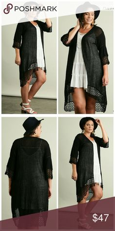 NEW!! The Jacquelyn Long Cardigan Beautiful open front Cardigan with crochet details Sweaters Cardigans