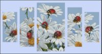 Daisies and Ladybugs (Free Pattern) Cross Stitching, Cross Stitch Embroidery, Cross Stitch Patterns, Watercolor Bookmarks, Cross Stitch Pillow, Cross Stitch Pictures, Cross Stitch Flowers, Needlepoint, Ladybug
