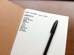 writing down an idea in your notebook