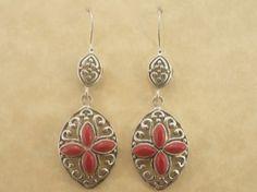 Ornate Coral Earrings - $45.00