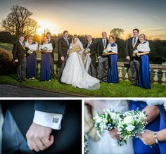 Sunset bridal party shot at this winter wedding, great midnight blue bridesmaids and a snow theme (snowflake cufflinks!). Pixies in the Cellar: Cheshire Winter Wedding at Shrigley Hall, Cheshire.