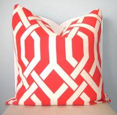 Coral and White Geometric Trellis Decorative Pillow Cover 18 x 18. $28.00, via Etsy.