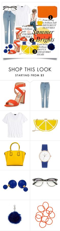 """""""Summer Brights"""" by amyjoydesigns ❤ liked on Polyvore featuring Manolo Blahnik, River Island, Topshop, Jessica McClintock, Bling Jewelry, Monki and Henri Bendel"""