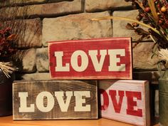 Wooden LOVE Sign - Red, White, or Brown - Distressed, Rustic Country, Primitive, Vintage Farmhouse, Valentines Day Decor by AppleFarmCreations on Etsy https://www.etsy.com/listing/476073043/wooden-love-sign-red-white-or-brown