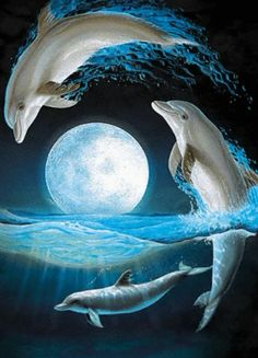 Magnificent Lenox Dolphins At Midnight Jumping Over A Sea Waves Dolphin Painting, Dolphin Art, Water Animals, Animals And Pets, Dolphins Tattoo, Beautiful Moon, Ocean Life, Marine Life, Sea Creatures
