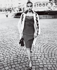 Mambo Italiano - A beautiful mash-up of influences (Spanish lace, British plaid, Italian hourglass), this is our vote for the season's most appealing date dress. Miu Miu leather coat and shoes; select Miu Miu boutiques. Nina Ricci dress, $2,790; Barneys New York, NYC. Hermès bag. Charvet scarf. Selima Optique for Pamela Love sunglasses.