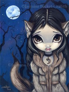 Jasmine Becket Griffith Art Print Signed Little Wolf Girl Werewolf Full Moon Pop | eBay