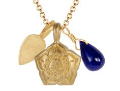 10K Gold Om Flower Trinket Pendant with Lapis