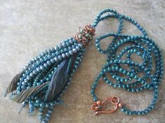 Turquoise and Copper Boho Tassel Necklace  by TerebellumStudio
