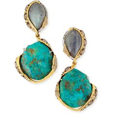 Alexis Bittar Encrusted Vine Labradorite & Chrysocolla Clip-On Earrings - Blue