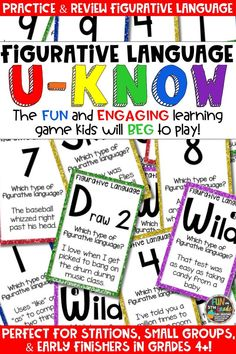 Students love playing U-Know games for fun REVIEW of figurative language or for test prep. It's a perfect activity for any small group or station, and great for early finishers. Figurative Language U-Know is a fun learning game played similar to UNO except if you get an answer wrong, you have to draw two! Students will beg to practice figurative language in this way! Covers similes, metaphors, hyperbole, idioms, personification, onomatopoeia, and alliteration!