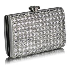 Stunning diamanté clutch bag, has a detachable chain strap and a jewelled fastening also comes in a gorgeous display box with a ribbon! handbagandheel.com