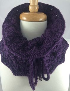 Cowl Neck Warmer Deep Purple Hand Knit Lampwork Bead Caron Simply Soft.   This is a great plum, warm and comfy lacy cowl that is close around the neck, yet loose and cuddly.  Handmade knit ties with e