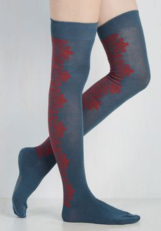 Eenie Meenie Viney Moe Thigh Highs in Slate Blue. Catch these over-the-knee socks by the toe and you wont want to let them go! #blue #modcloth