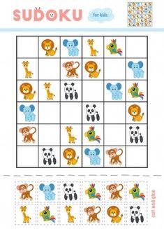 Sudoku dla dzieci, edukacyjne gra. Kreskówka zwierzęta - małpę, żyrafa, Lew, papuga, słoń i Panda. Użyj nożyczek i kleju, aby wypełnić brakujące elementy Kindergarten Learning, Fun Learning, Free Puzzles For Kids, Toddler Activities, Preschool Activities, Cute Powerpoint Templates, Preschool Journals, Page Borders Design, English Worksheets For Kids