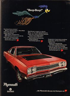 """The very popular Camrao A favorite for car collectors. The Muscle Car History Back in the and the American car manufacturers diversified their automobile lines with high performance vehicles which came to be known as """"Muscle Cars. Pub Vintage, Vintage Cars, Vintage Ideas, Vintage Auto, Vintage Stuff, Vintage Designs, Vintage Motorcycles, Cars And Motorcycles, Plymouth Duster"""