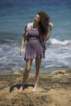 mini lila dress and shirt and sea