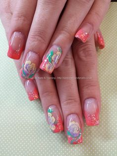 Coral gel polish with glitter and one stroke rose nail art