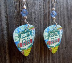 Route 66 Guitar Pick Earrings with Blue Crystals by ItsYourPick on Etsy