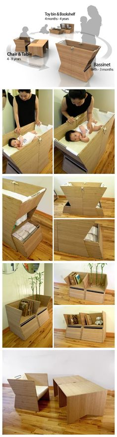 This is amazing design which is a children furniture and also can be able to accompany children from baby to grow up . At baby three months ago, it is a cradle; Between April to four years, it is a toy box or small bookcase. Age four to eight years ago, it was a child learnig desk or chair. This product is not waste also endowed with the meaning of life, the boy sat down on a chair to study which a few years ago it was a cradle, very interesting!It is designed by Chul Min Kang for her…