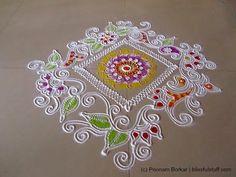 Beautiful and unique square shaped free hand rangoli | Creative rangoli designs by Poonam Borkar - YouTube