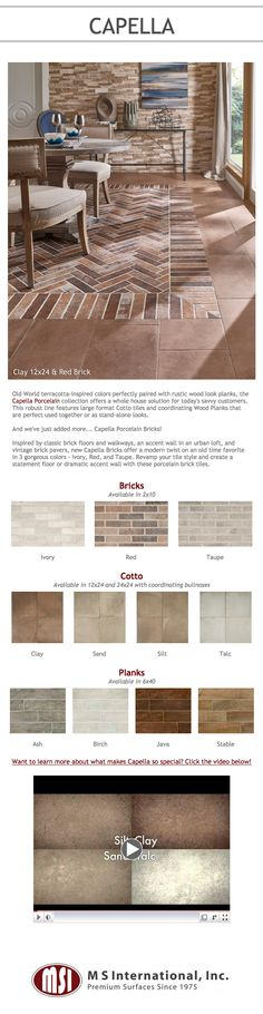 Old World terracotta-inspired colors perfectly paired with rustic wood look planks and classic brick looks, the Capella Porcelain collection offers a whole house solution. This robust line features coordinating large format Cotto tiles, Wood Planks, and Bricks that are perfect used together or as stand-alone looks.