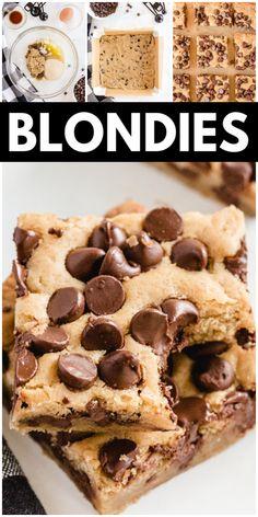 Classic Brownies Recipe, Chocolate Chip Blondies, Homemade Brownies, Kid Friendly Meals, Brownie Recipes, Dessert Bars, Cookie Bars, Easy Desserts