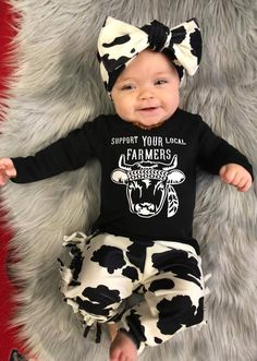 Cow Outfit Cute Baby Clothes Baby Girl Cowgirl Outfit | Etsy