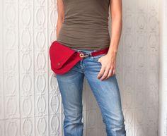 Red Ripstop Belt Bag Fanny Pack by rocksandsalt on Etsy