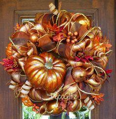 COPPER PUMPKIN FALL Wreath by decoglitz on Etsy