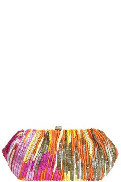 a statement sequin clutch with satin fabric lining  the perfect accompaniment   to the season's neon brights