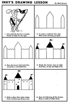 Inky's Drawing Lesson: Castle Cc Drawing, Drawing Lessons, Drawing For Kids, Art Lessons, Art For Kids, Kid Art, Drawing Tools, Sketching, Animal Drawings
