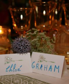 """My niece Ysé helped me write all the names for the placecards in watercolor pencil. She wanted to do Graham's and mine in blue so it was our """"something blue"""" for the wedding."""